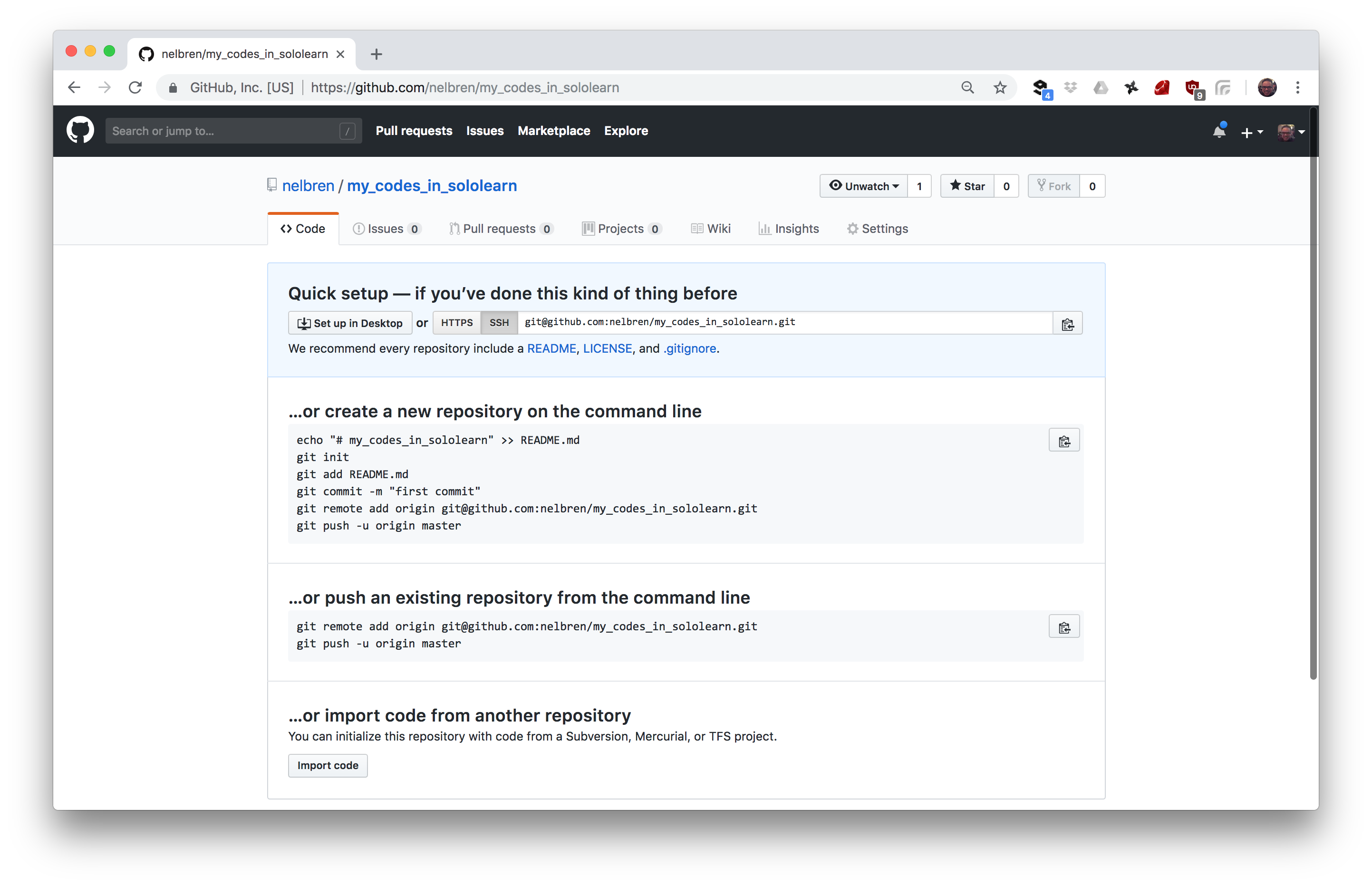 Version Control of SoloLearn on Github - Nelbren